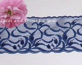 Navy Lace Trim 5 Yards Fancy Lingerie 3-1/2 inch wide Lot H20A Added Items Ship No Charge