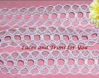 White Lace Trim 12/24 Yards Fancy Beading 5/8 inch wide Lot M45A Added Items Ship No Charge