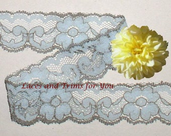 Turquoise Lace Trim 10/20 Yards Vintage Floral 1-1/8 inch wide Lot M04C Added Items Ship No Charge