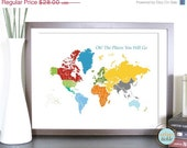 World Map Art for Kids, Print  for Nursery -World and Places -16X20 Inches, Birthday Gift, Baby Gift