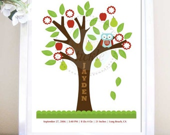 Nursery Birth Poster, Sleepy Owl on a Tree, 11X14, Other sizes available, Baby gift, Newborn baby
