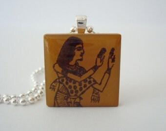 Egyptian Goddess Seshat Necklace  Rubber Stamped Porcelain Tile Pendant Necklace