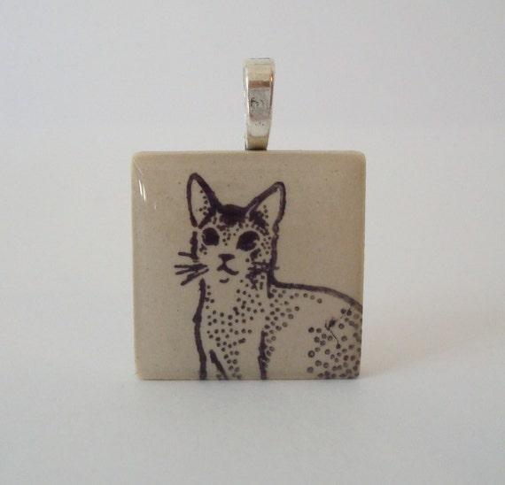 Abyssinian Somali Cat Necklace Porcelain Tile Pendant Rubber Stamped