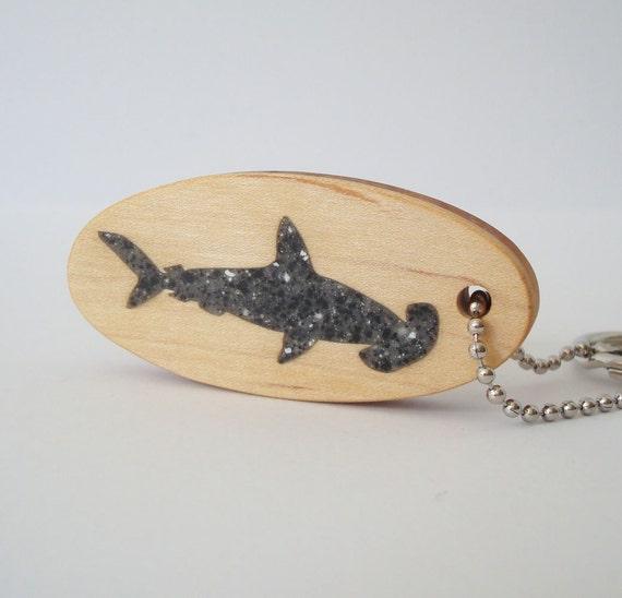 Hammerhead Shark Key Chain  Scroll Saw Wood Keychain Hand Cut
