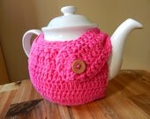 Modern TEA COZY in crochet cotton- custom colours - PINK