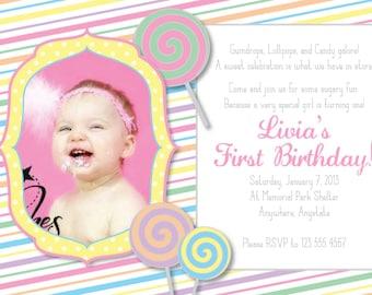 Sweet Shoppe Lollipop Personalized Invitation PRINTABLE