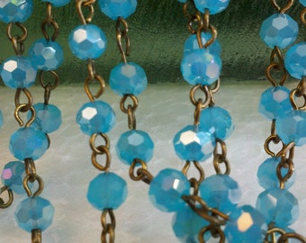 36 Inches of 6 mm Faceted Round AB  Aqua Blue Glass Beaded Rosary Chain with Brass Loops. Jewelry Supply.