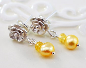 Yellow Pearl Earrings, Genuine Freshwater Pearl, Sapphire Gemstone, Princess Jewelry, Child Children Girl, Sterling Silver, Rose Ear Posts