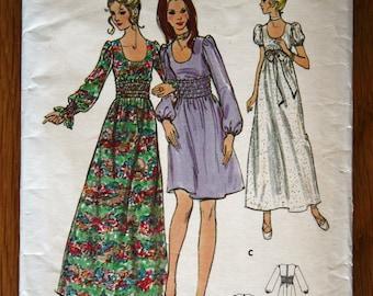 Butterick 6123 Teens Regency Style Scoop Neck Dress Vintage Sewing Pattern