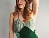 1930s emerald velvet low back slip dress // 30s velvet slip evening dress //