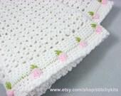 Crochet Pattern for Rosebud Baby Blanket - INSTANT DOWNLOAD .pdf