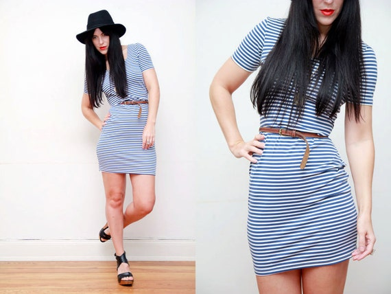 AMAZING Vintage Stripe sailor nautical Mini Dress 90s