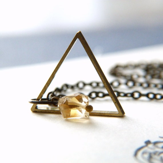 Triange Geometrical Necklace - Brass and Citrine Necklace - Harry Potter Deathly Hallows Inspired Necklace