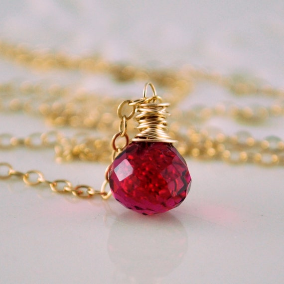 Simple Hot Pink Gemstone Necklace Semiprecious Fuchsia Quartz Dark Raspberry Luxe AAA Onion Gold Jewelry Complimentary Shipping