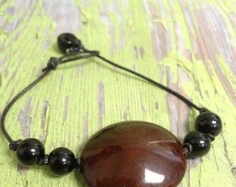 Flat Brown Bead Bracelet