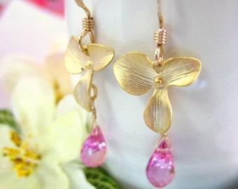 Magenta pink quartz gold flower dangle earrings, Japanese pink cherry blossom earrings, Valentines Day pink sakura floral gold earrings