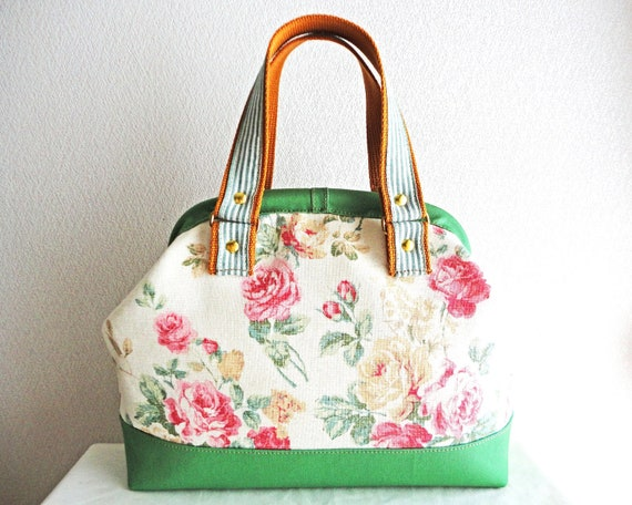 Shabby chic floral Doctor bag with Green bottom, frame bag
