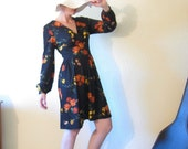 Vintage 70s Floral Dress - Deep V Plunge - Autumn Flowers