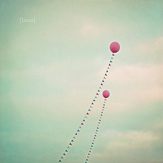 "Balloon Photograph - Carnival Photography - Baby Nursery - Home Decor - Baby shower - Fine Art Print 8x8 - ""Whimsical Balloons"""