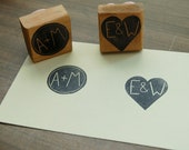 Custom Couple's Initial Stamp - 1.5 inch Square
