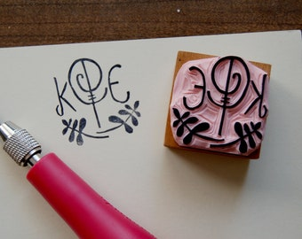 Custom Monogram Stamp - 1.5 inch Square