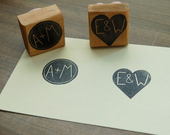 Custom Couple's Initial Stamp - 1.5 inch - Personalized Wedding or Engagement Gift
