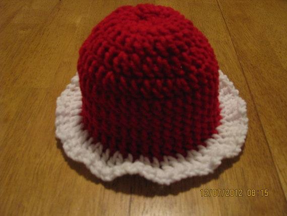 Mrs santa claus hat crochet newborn size photo prop costume