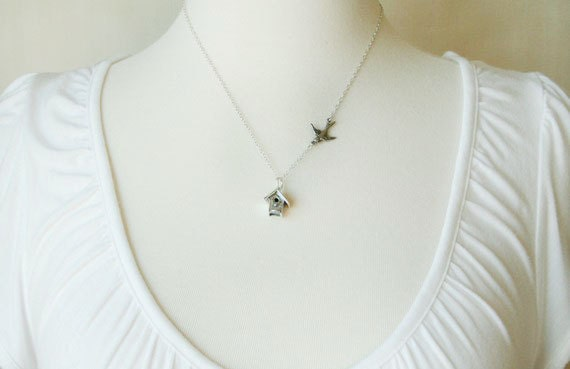 Welcome Home / All Sterling Silver Birdhouse Necklace / simple everyday necklace