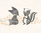 Happy Fox & Skunk - Print - whimsywhimsical
