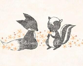 Happy Fox & Skunk - 5x7 Print