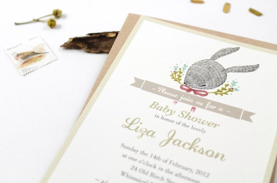 10 Personalized Invitations - Whimsical Baby Rabbit