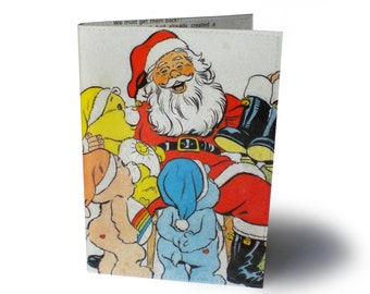Care Bears Christmas Book Cover with A6 Notebook - Upcycled Comic