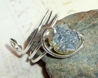 Ancient  Roman Glass Pale Green Ring Sterling Silver Adjustable earthegy