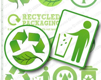 Green Reduce, Reuse, Recycle Clip Art Set - Transparent Background - Earth Day, Leaves, Trees, INSTANT DOWNLOAD