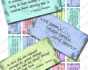 Women's Quotes Digital Rectangles on 8.5x11 Sheet (20 Different Quotes in Soft Colors OR Neutral)