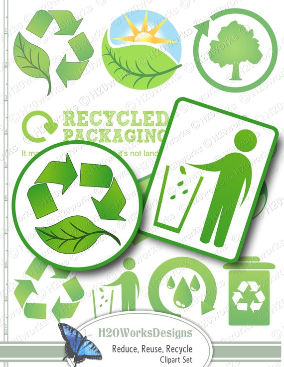 Green Reduce Reuse Recycle Clip Art Set By H20worksdesigns