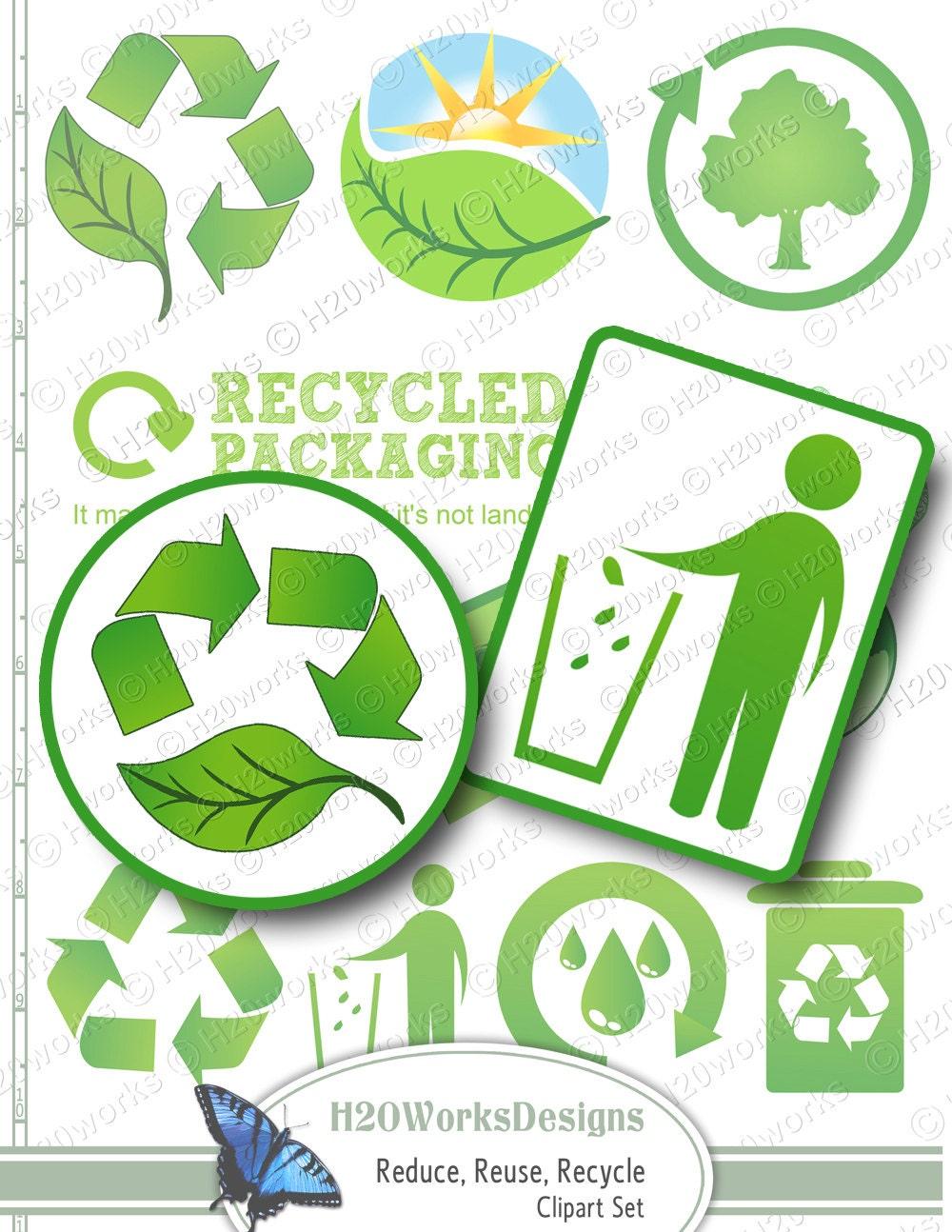 Green Reduce Reuse Recycle Clip Art Set Transparent