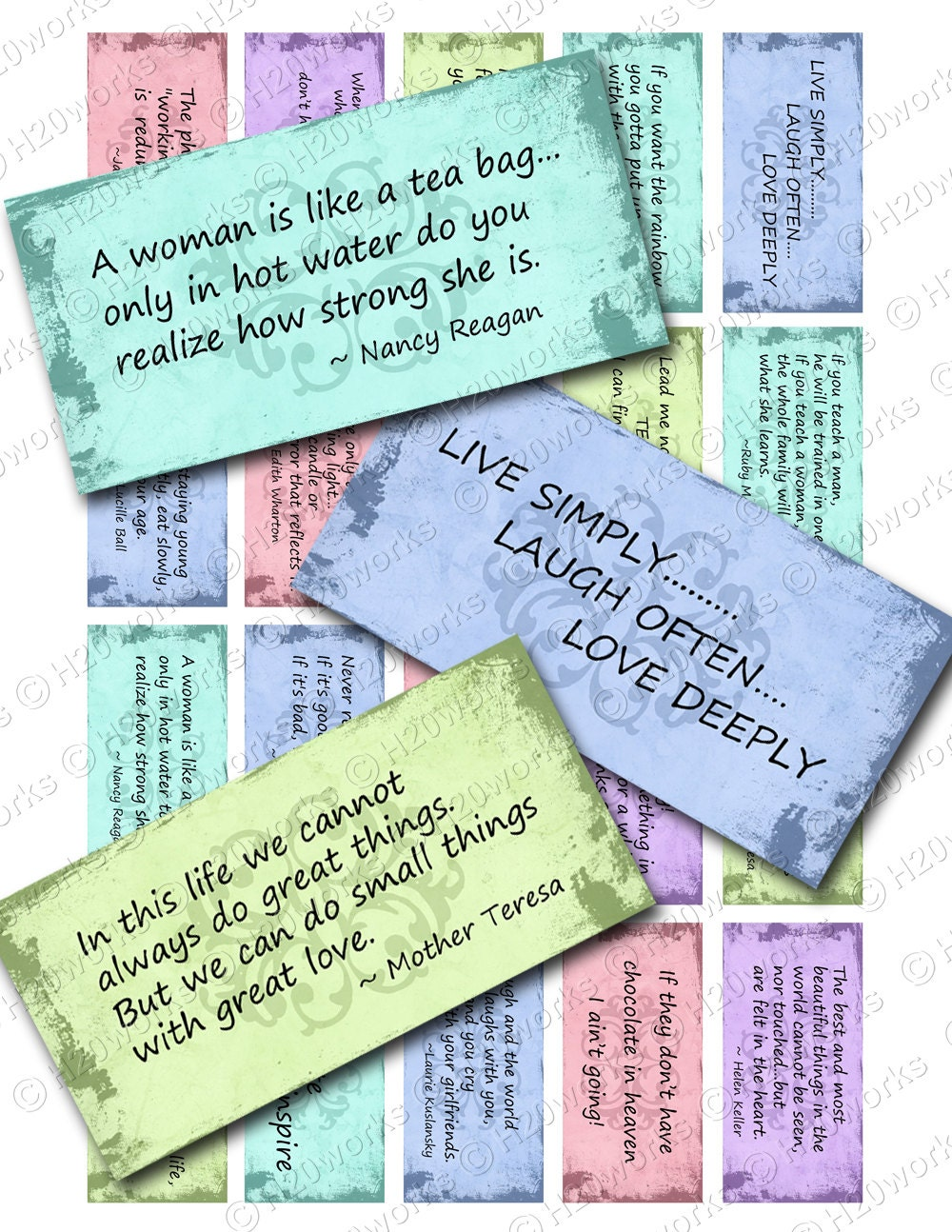 women u0027s quotes digital rectangles on 8 5x11 sheet 20 different