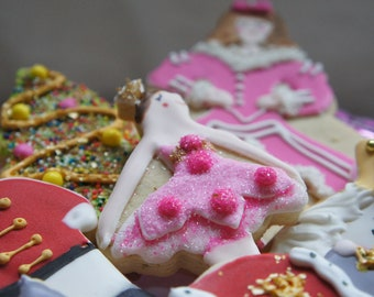 Nutcracker Suite Hand Decorated Cookies- Sugar Plum- Mouse King- Mother Ginger-soldier -6 pieces-