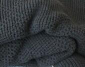 Afghan/Throw ,Knitted Afghan, Dark Gray