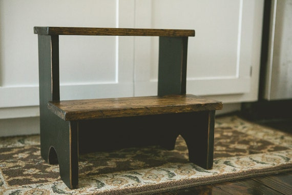 Items Similar To Childs Step Stool In Distressed Black