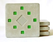 Set of Four Concrete Coasters with grey and green tile inlay