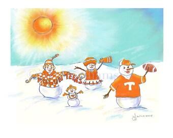 UT Tennessee Volunteers football team - original art print