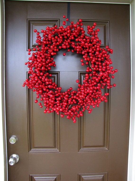 Red Cranberry Wreath Holiday Wreath Christmas Wreath Extra