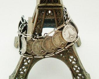 Vintage French bracelet Paris Eiffel tower souvenir , 15 connectors