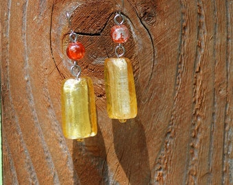 Yellow and Orange Art Glass Earrings