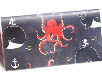 CHECKBOOK COVER - Octopus and Whales