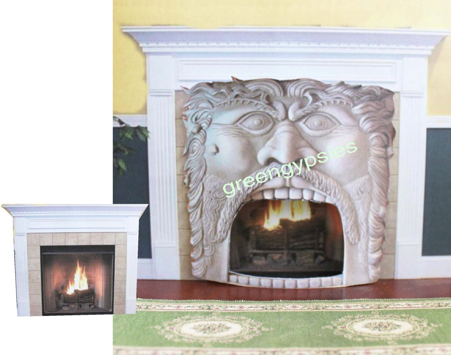 miniature spooky ogre face fireplace front in 1 12 scale for