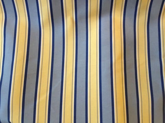 Blue And Yellow Stripe Medium Weight Home Decor Fabric By Yard