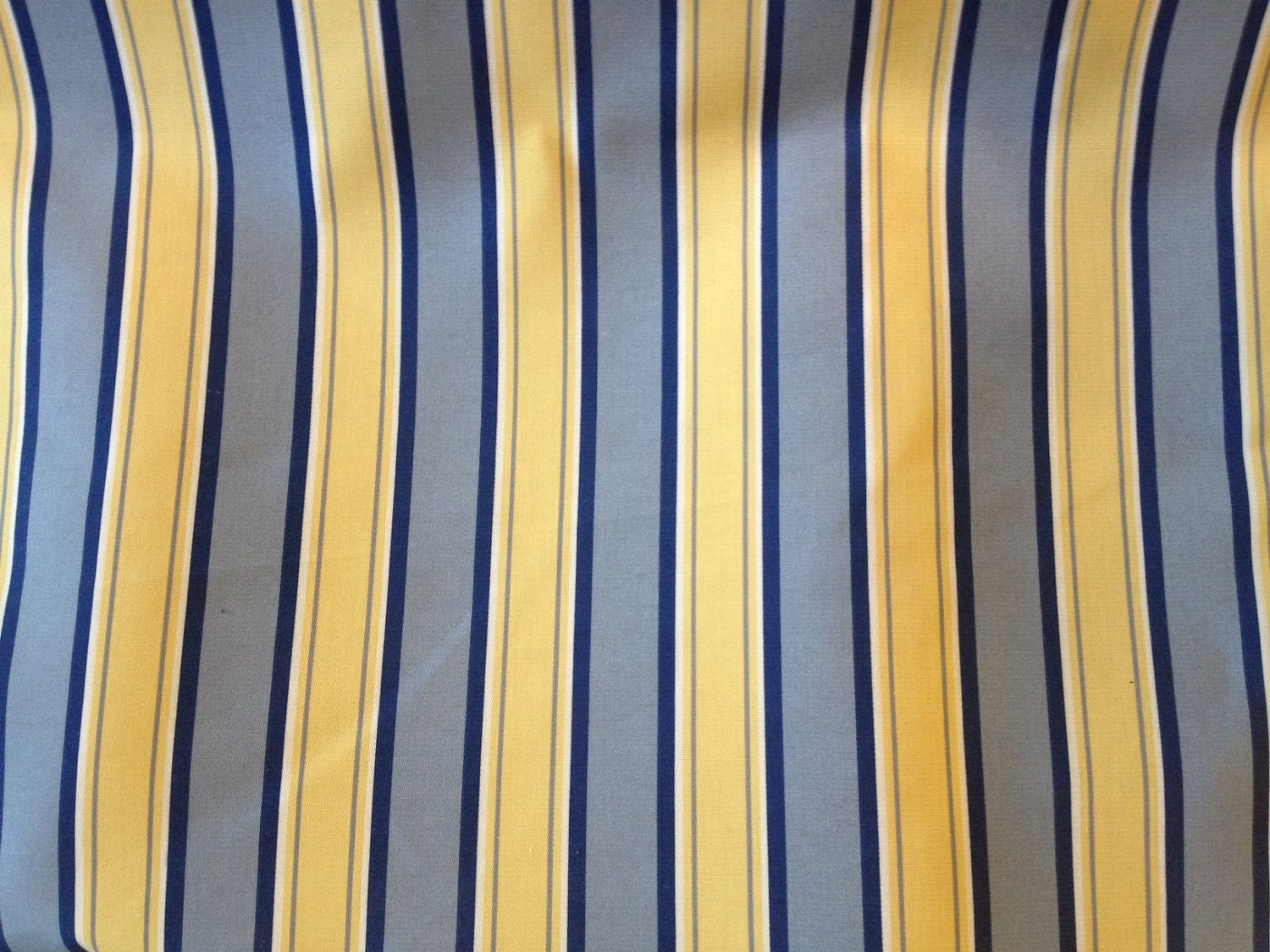 Quatrefoil curtains - Blue And Yellow Stripe Medium Weight Home Decor Fabric By Yard